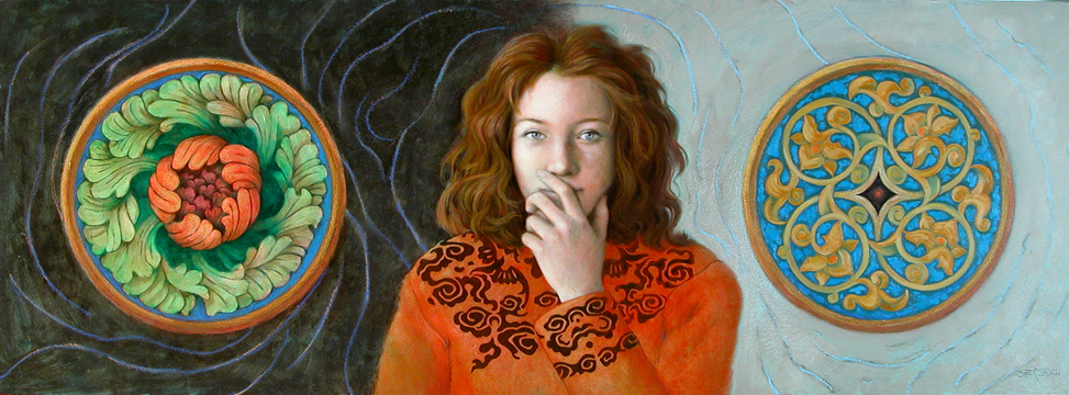 WOMAN IN RED SWEATER 24X48 (sold)