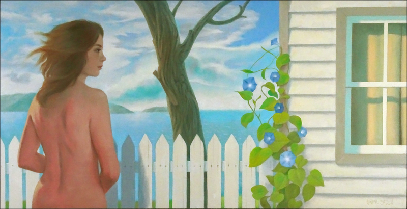 WOMAN AND COTTAGE 30x60