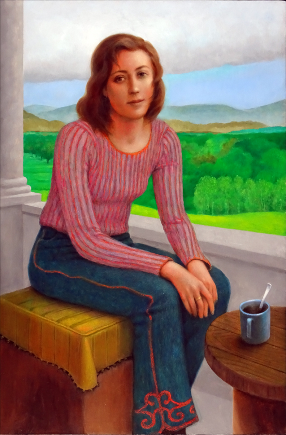 WOMAN WITH CUP OF COFFEE 36x24