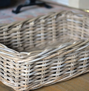 rectangular rattan dog basket