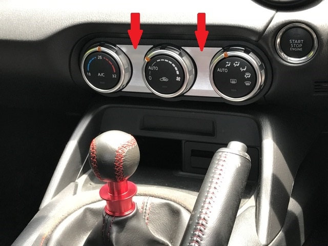 ND Roadster Climate Control Bezel Brushed Aluminum Decals