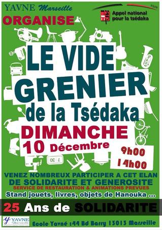 LE VIDE GRENIER de la Tsédaka, dimanche 10 Décembre de 9h00 à 14h00