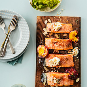 Planked Wild Salmon with Nectarines, Thyme, Honey, Almonds and Ricotta