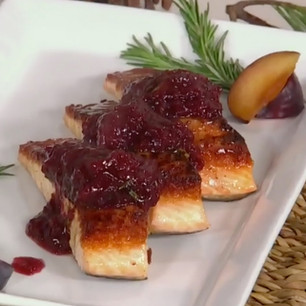 Salmon with Sweet and Sour Pinot Noir Plums and Rosemary