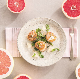 Roasted Scallops with Grapefruit, Brown Butter and Thyme