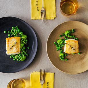 Halibut with Spring Peas and Spinach Pea Puree