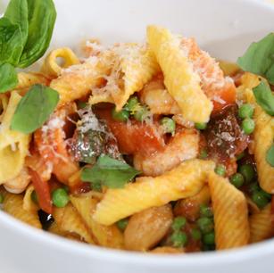 Garganelli with Shrimp, Garlic Confit, Peas, and Chili