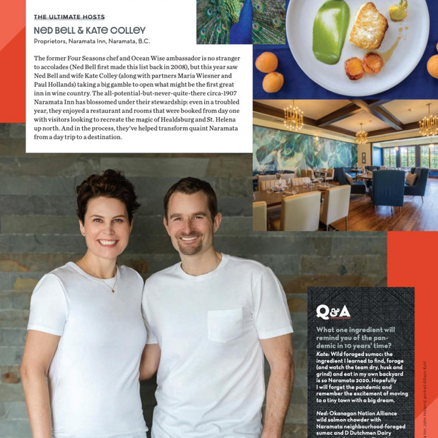 Western Living features Naramata Inn's Kate Colley & Chef Ned Bell as '2021 Foodie of the Year' Finalists