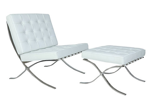 Barcelona White Chair and Ottoman