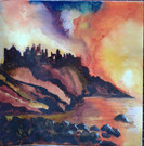 Dunluce Castle, N. Ireland at sunset