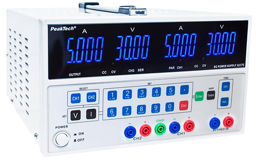 Peaktech P6075 Digital Laboratory Power Supply Dual Channel 30V 5A, 5V 3A