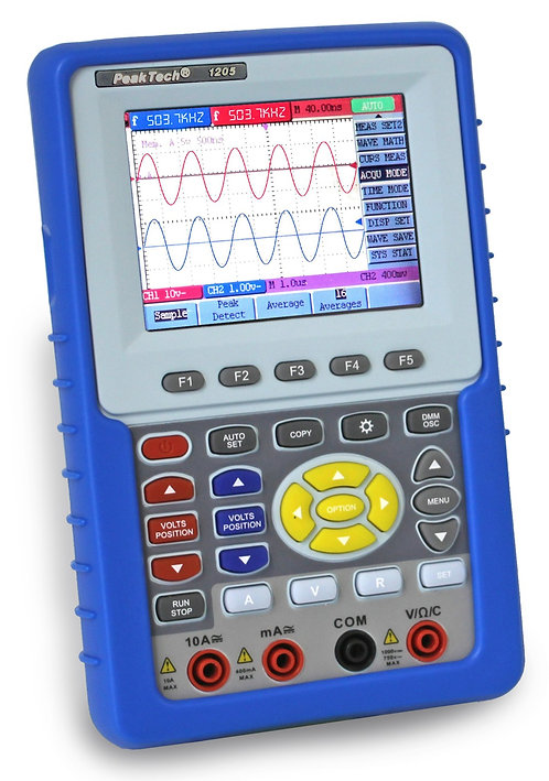 Peaktech P1205 20 MHz 2 CH 100 MS/s Handheld Oscilloscope Digital Multimeter