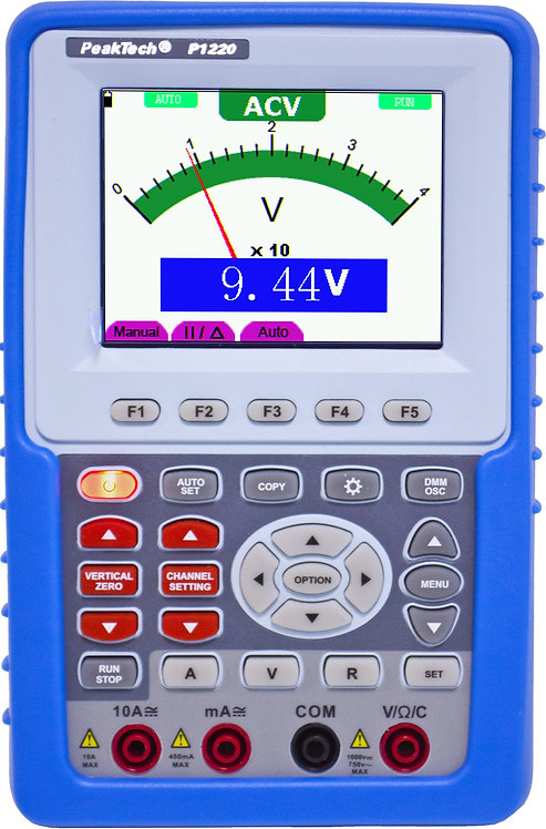 Peaktech P1220 20 MHz 1 CH 100 MS/s Handheld Oscilloscope Digital Multimeter