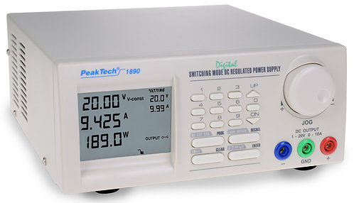 Peaktech P1890 Programmable DC Power Supply 20V 10A Switching Mode