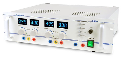 Peaktech P6060 Regulated Dual Channel Power Supply 30V 10A, 5V 3A