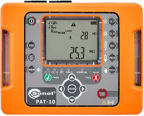 Sonel -PAT-10 Portable Appliance Tester, Rpe 10A, WiFi, IP40, LED Test Indicator