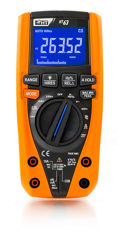HT Instruments HT63 TRMS/AC+DC Digital Multimeter with Colour LCD display