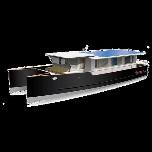 Ce catamaran en aluminium, plus léger et plus manoeuvrable que les bateaux fluviaux traditionnels, est une maison d'habitation tout confort en même temps qu'un moyen de déplacement agréable, aussi bien sur fleuves et canaux qu'en mer.