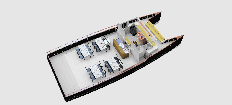 Bateau restaurant hybride électrique