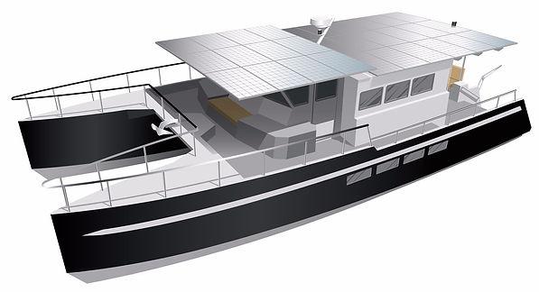 boat aluminium solar hybrid catamaran boat transatlantic hybrid