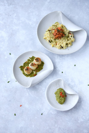 Pan-Seared Scallops, Basil Green Pea Sauce, Saffron Risotto with Smoked Salmon - COMING SOON!