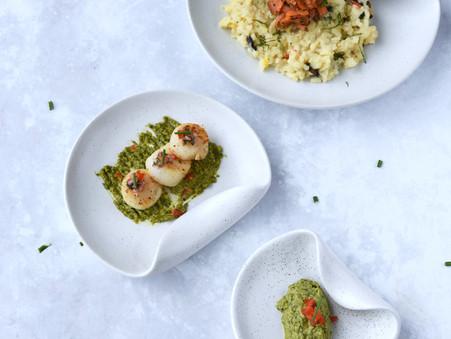 Pan-Seared Scallops, Basil Green Pea Sauce, Saffron Risotto with Smoked Salmon - COMING SOON!