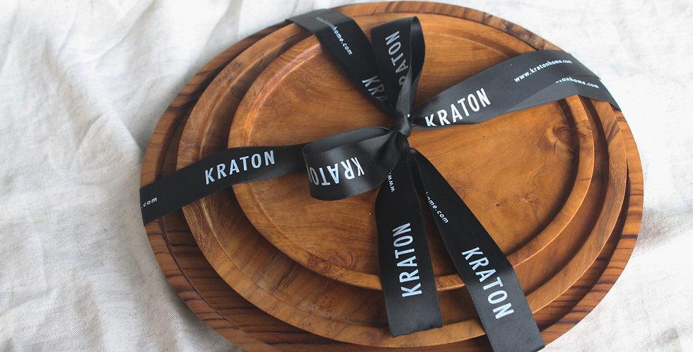 MERAPI Teak Wooden Plate Set - (3pcs)