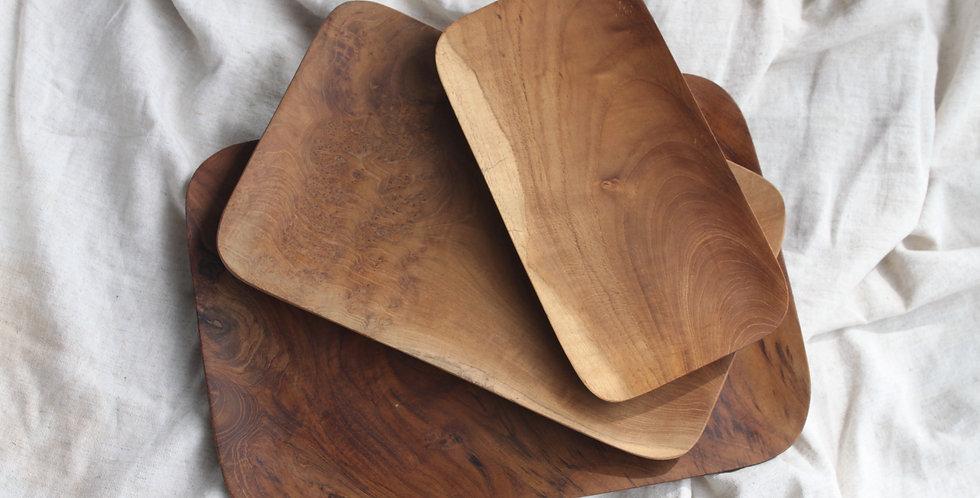TUGU Teak Wooden Tray - MEDIUM (27cm x 17cm)