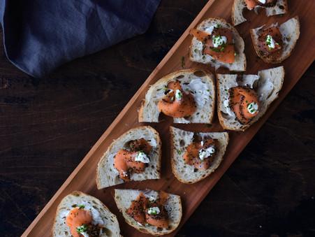 Gravlax or Smoked Salmon Crostini