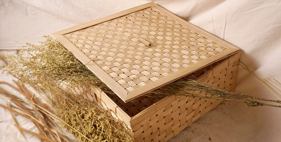 Handwoven Bamboo Box - Large (35cm x 35cm x 15cm)