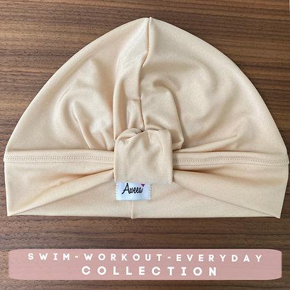 Cream Swim-Workout Turban