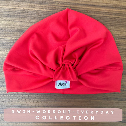 Red Swim-Workout Turban