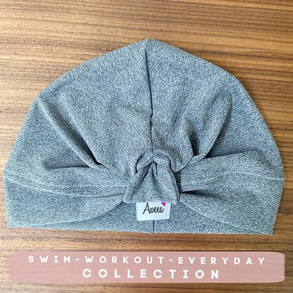 Gray Swim-Workout Turban