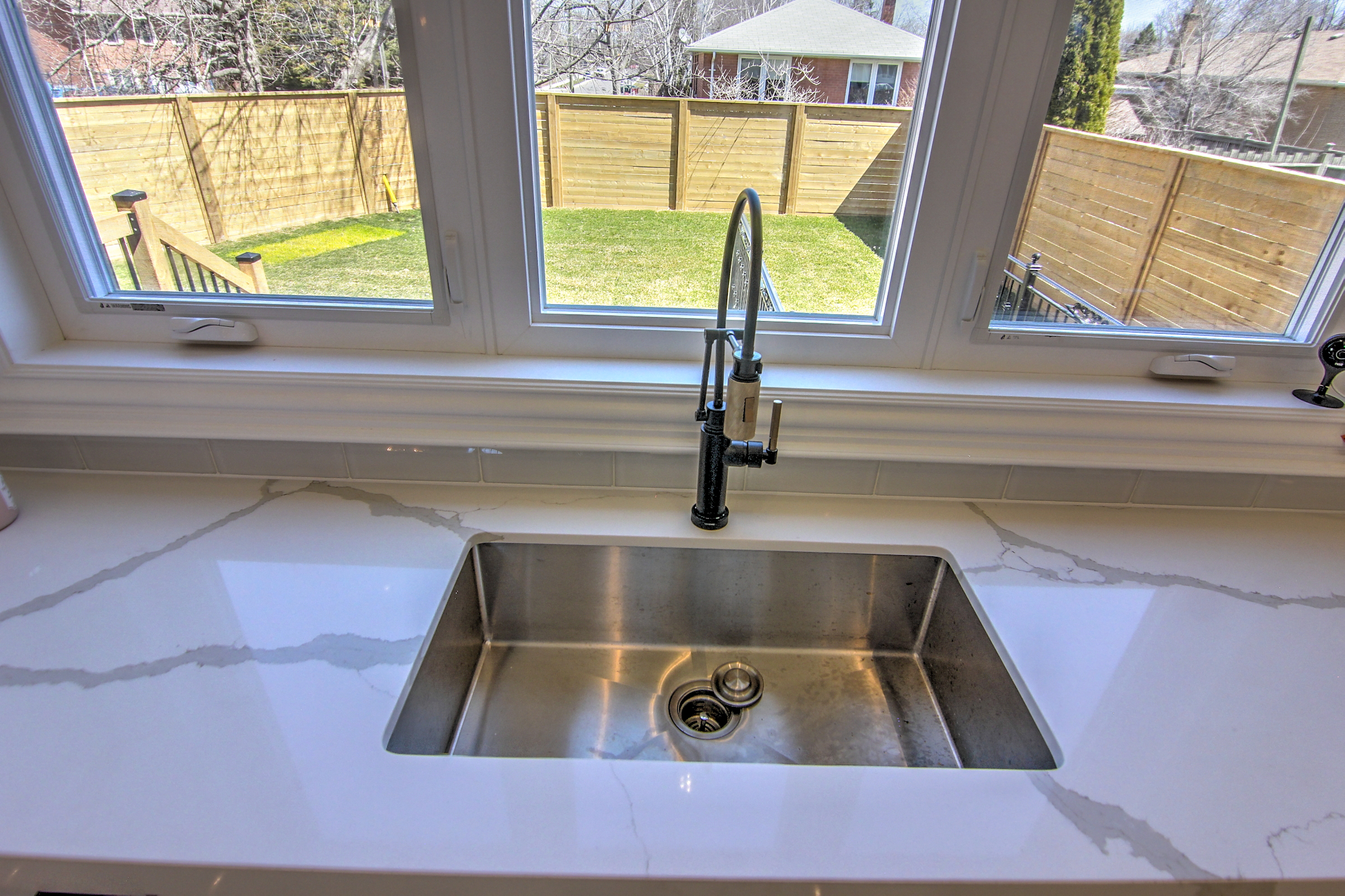 Sink and Backyard View