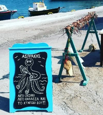 Octopus op het menu op Lipsi eiland, Griekenland