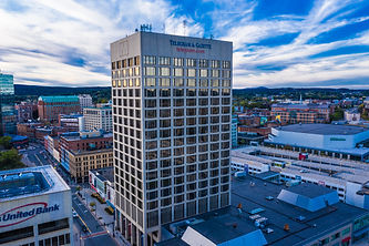 Telegram and Gazette building in downtown Worcester, Massachusetts photographed from 200 feet.