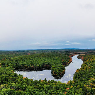 The pond at Moore State Park photographed from the sky.