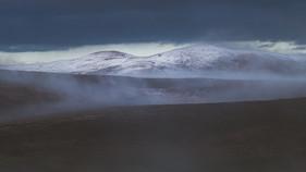 Ward hill emerging through the mist