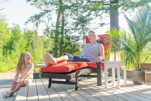 Lounge Chair with Grandma and grandaughter