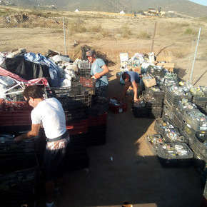 Volunteer group: Campaign to organize glass bottles to be sent for recycling.
