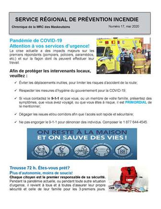 COVID-19 : Attention aux intervenants des services d'urgence!