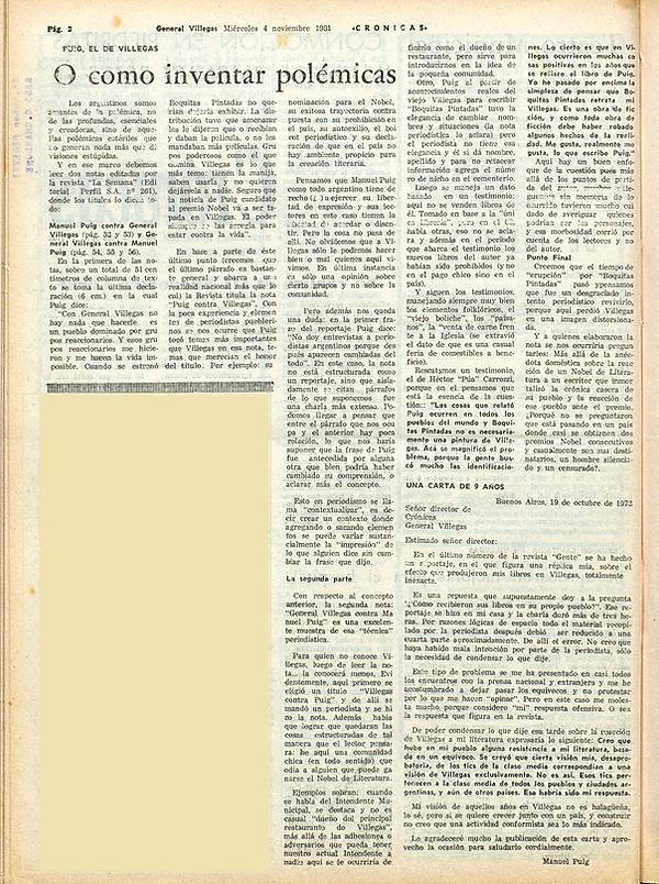Manuel Puig, Boquitas Pintadas. Artículo que aparece en el diario local de General Villegas, analizando la relación de Manuel con el pueblo que lo vio nacer. Puig, el de Villegas o como inventar polémicas.