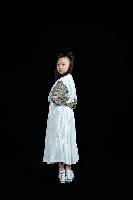 teddybear lace collar, shirring dress, bordered long sleeved tee