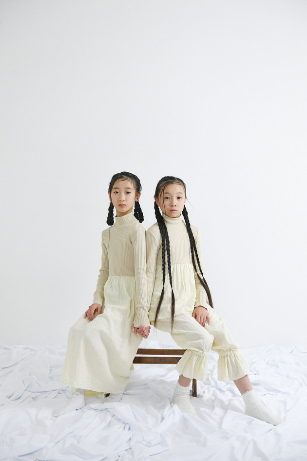 left: rib high neck long dress right: rib high neck top, gauze pants
