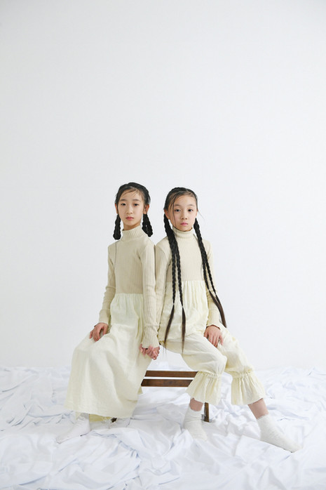 left: rib high neck long dress right: rib high neck top, gauze pants