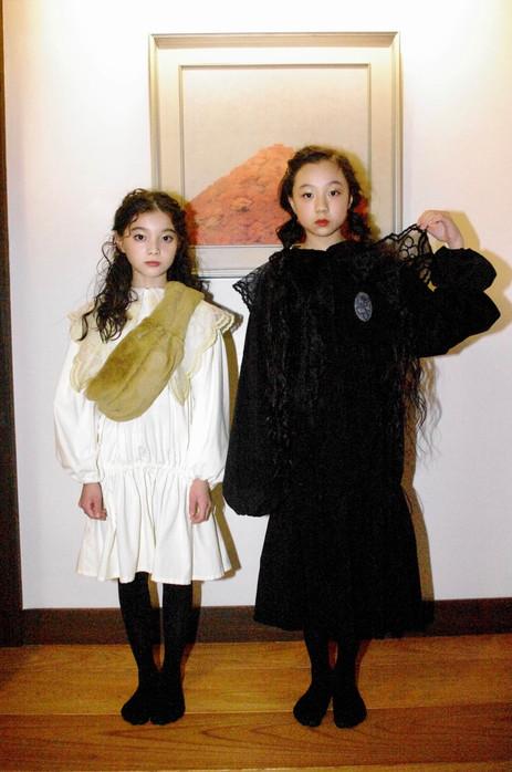 fur bumbag (left), fur collar (right), corduroy mini dress