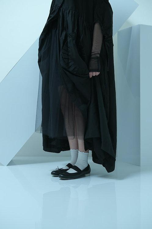 tulle shirring long dress