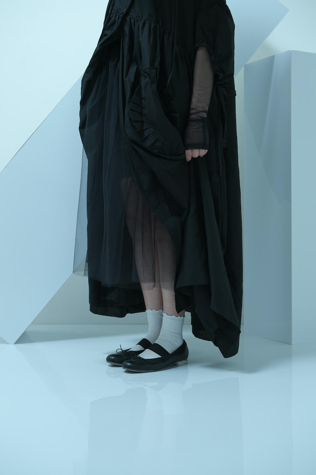 short sleeved long coat, tulle, shirring long dress, tulle long sleeved top, double monk strap shoes