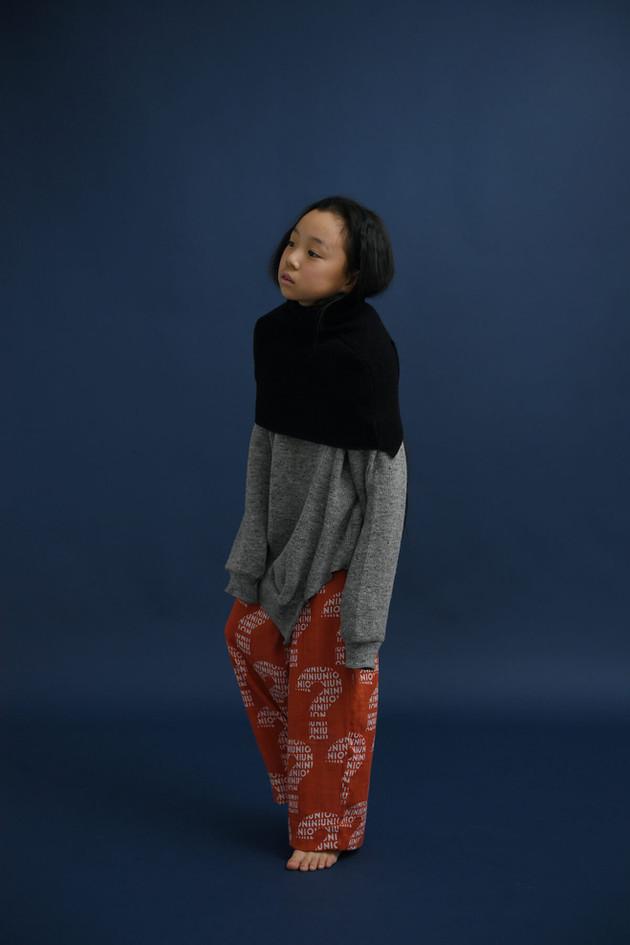 "rich knit neck warmer, rich knit pullover, ""nazo"" long pants"