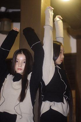 long sleeved rib knit pullover